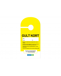 Dörrhängare Gult kort, 100-pack